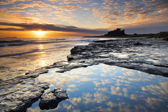 Sunrise on the coast near Bamburgh Castle, Northumberland