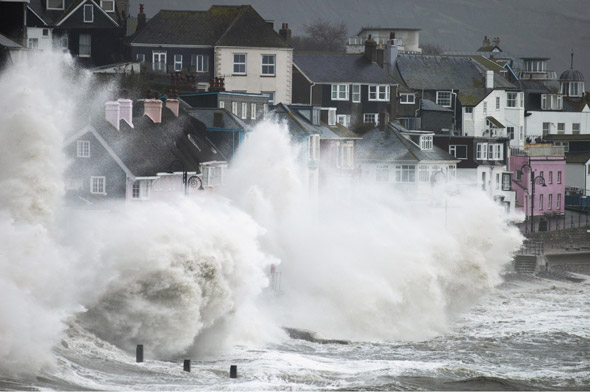 Storm battering seafront, Lyme Regis, UK