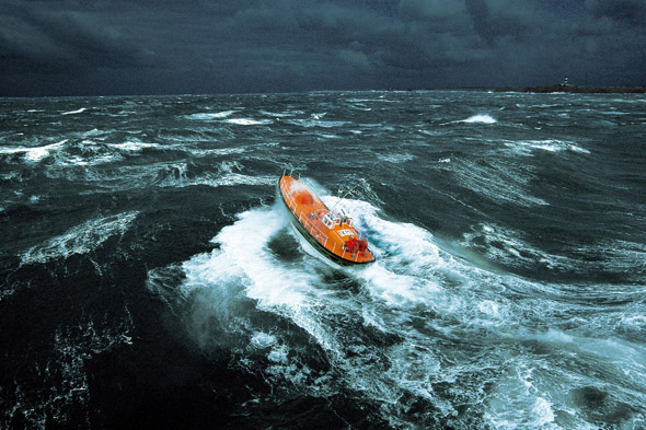 Lifeboat in a storm, Brittany, France