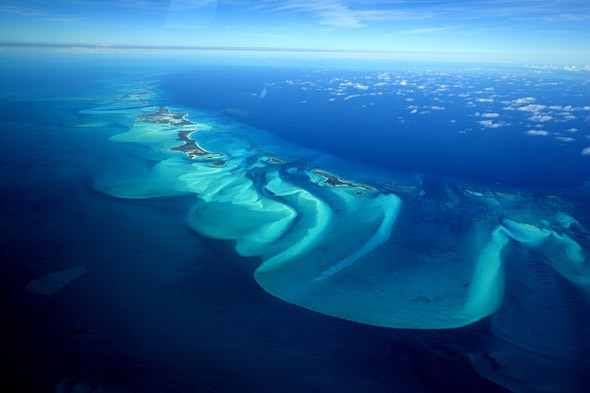 Aerial view  of Exuma, part of a chain of 365 islands, Bahamas