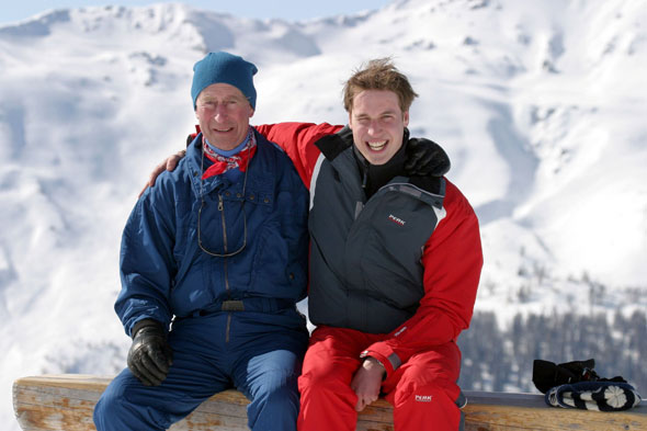 Princes Charles and William in Klosters