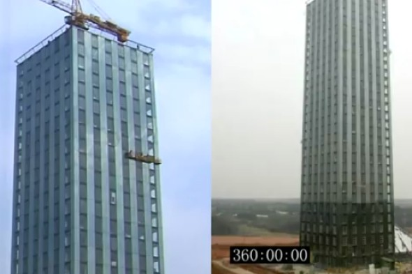 Hotel T-30 chino de 30 plantas construido en 15 días China Changsa hotel 30 store built in 15 days