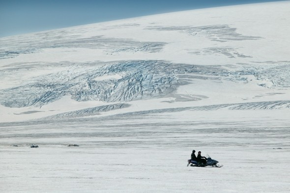 Go snowmobiling on the  Langjokull Glacier