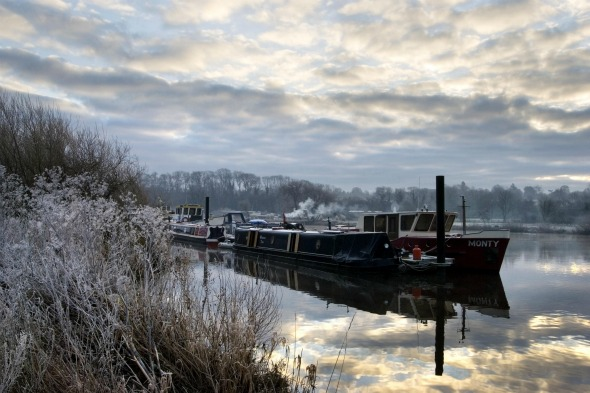 Iced up: River Trent, Gunthorpe, Nottinghamshire