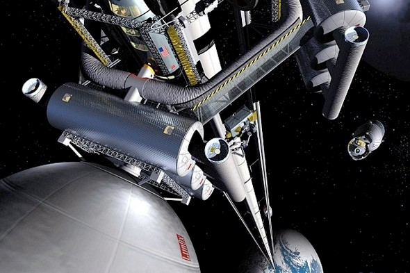 Space elevator to the moon for tourist