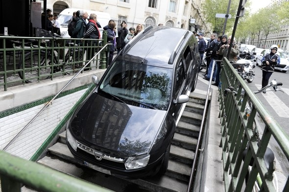 Driver stuck after mistaking underground train stairs for car park