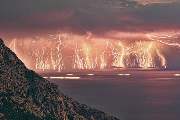 Electrifying photo shows 70 lightning bolts hit Greek island