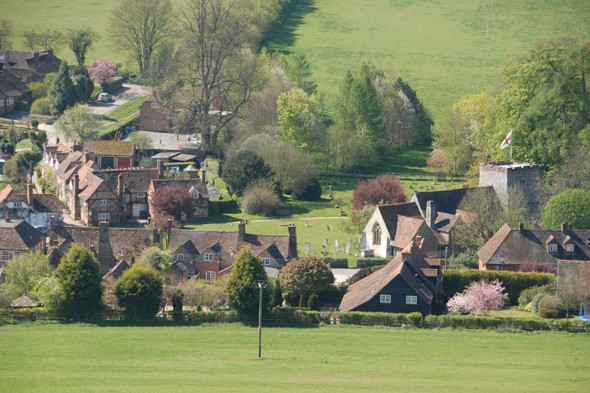 The village of Turville in Buckinghamshire is home to which jolly TV vicar?