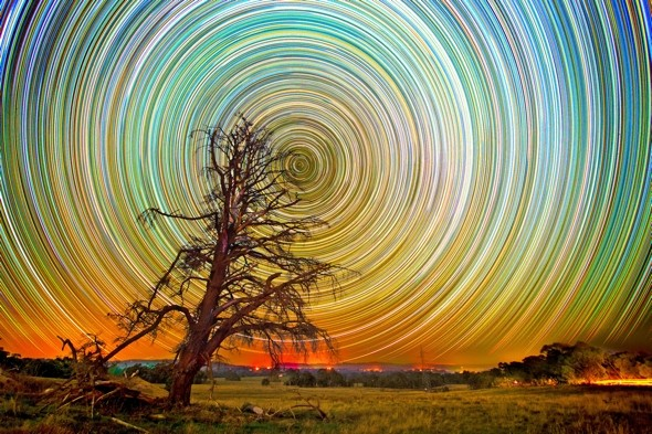 Time-lapse photography creates stunning kaleidoscope sky