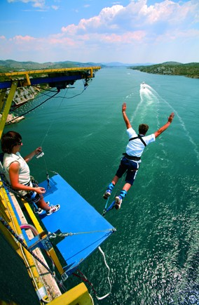 Bungee jump off Sibenik Bridge