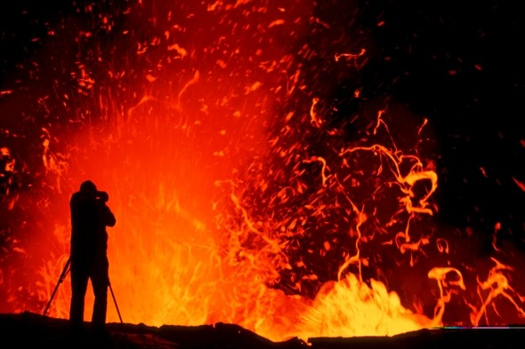 Ready for your close-up? Photographer braves volcano for perfect picture