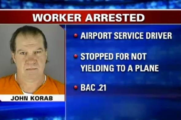 Airport worker arrested for 'drink driving on runway'