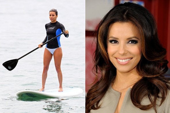 Eva Longoria makes a splash when paddle boarding