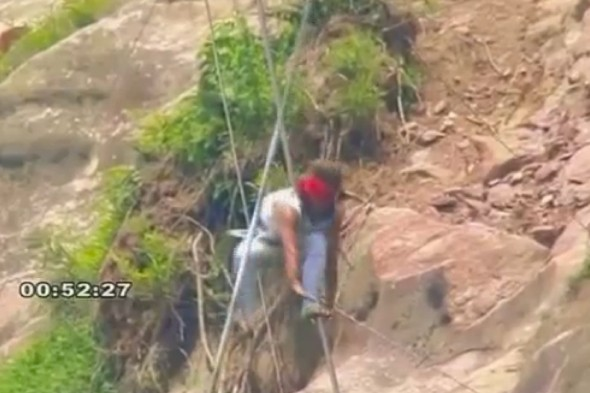 Watch: Acrobat survives 200m fall from tightrope, his pride doesn't