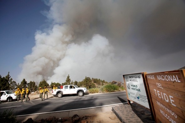 Forest fire raging near major Tenerife tourist park