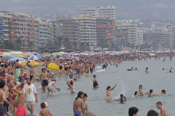 Terror on Spanish beaches as mauve jellyfish invade