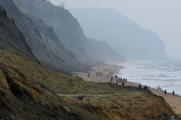'Abusive' family removed from Dorset beach by police after landslide