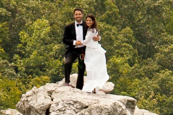 Most extreme wedding ever? Couple say 'I do' on narrow 900ft mountain peak