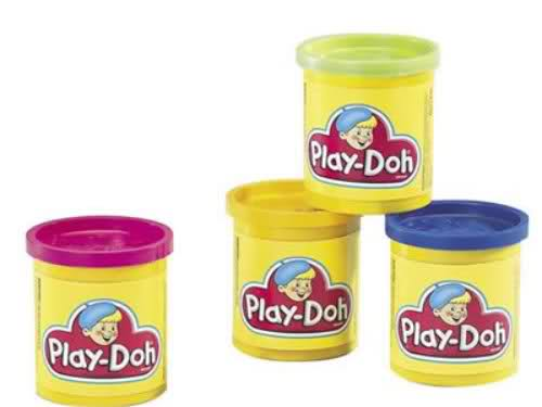 The twin toddlers and their play-doh