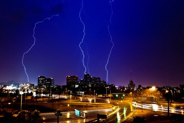Lightning strikes thrice! Amazing images from a storm chaser