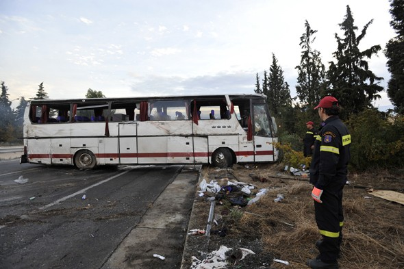 Greece bus crash, tourists killed, holiday tragedy, russian tourists killed, thessaloniki