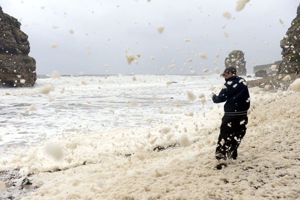 Watch: Entire UK village swamped by sea foam