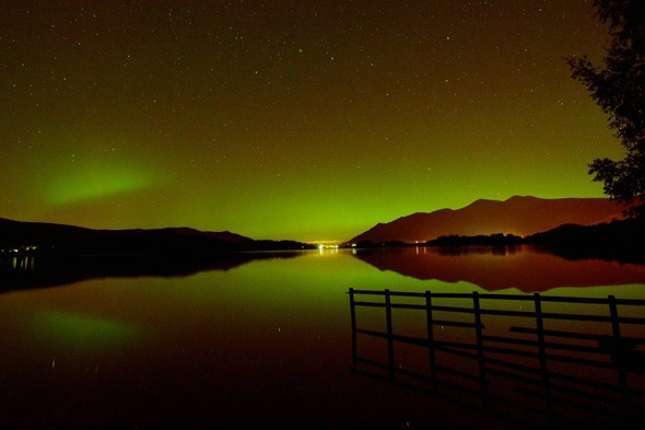 The Northern Lights have been putting on spectacular displays in the north of England - see  this beautiful photo of Derwentwater Cumbria Keswick, Lake District.