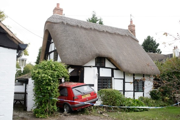 Car that crashed into cottage while couple on holiday now propping it up