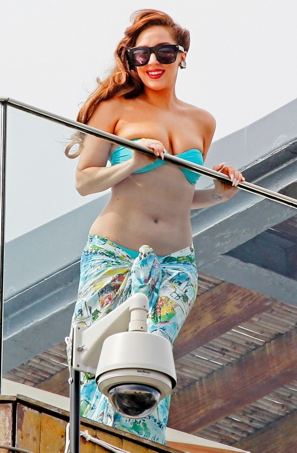Lady Gaga greets fans in her bikini in Brazil