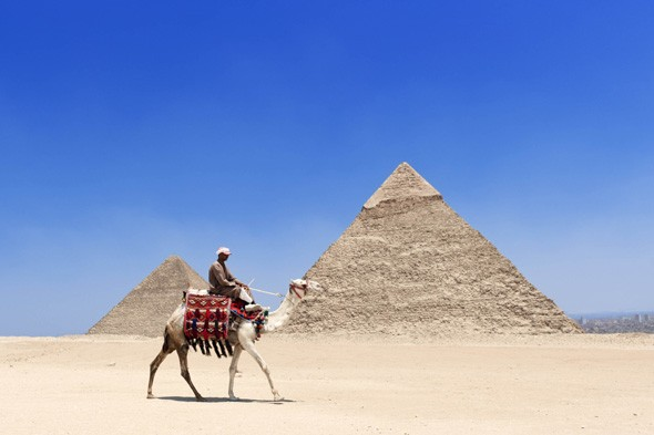 Stand in front of Giza's Great Pyramid