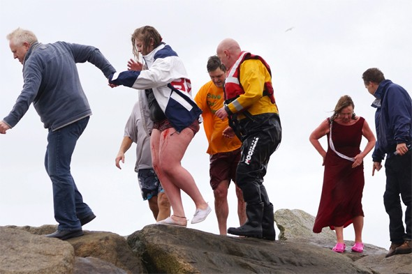 Bloodied Boxing Day swimmers rescued from choppy waters in Devon