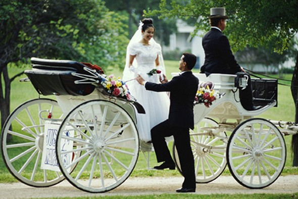 man who was driving a horse-drawn carriage to a wedding party in ...