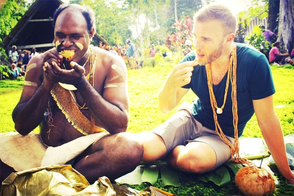 Gary Barlow soaks up some culture in the Solomon Islands