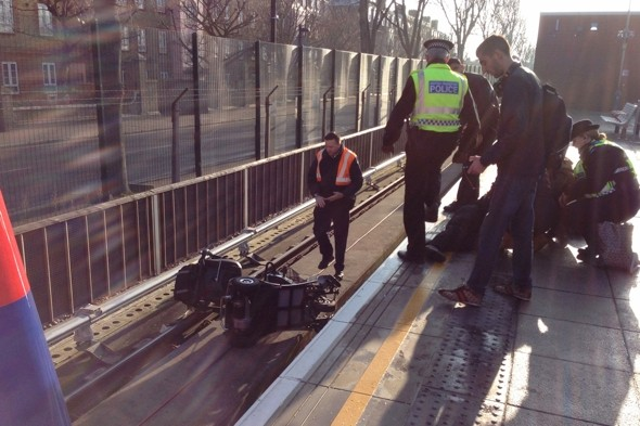 Elderly man in lucky escape after driving electric buggy on to DLR train tracks