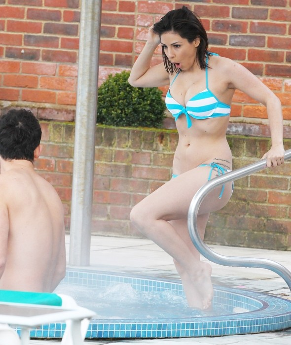 Roxanne Pallett braves the chill in bikini for outdoor spa