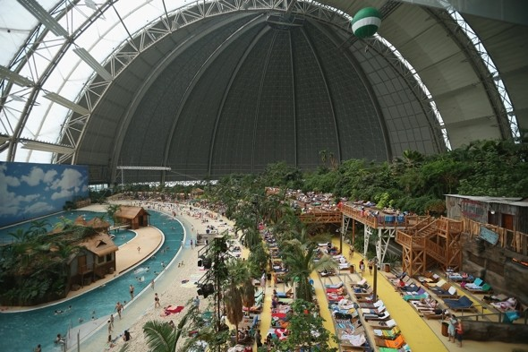 Introducing the Tropical Islands Resort in a snow-covered hangar in Germany