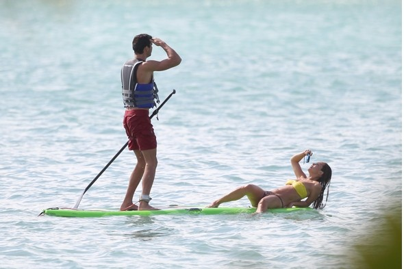 Myleene Klass goes paddleboarding with mystery man in Caribbean