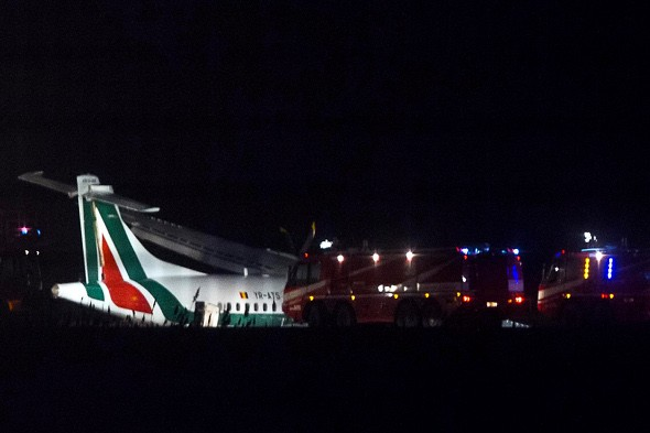 Six injured as strong winds force plane off runway in Rome
