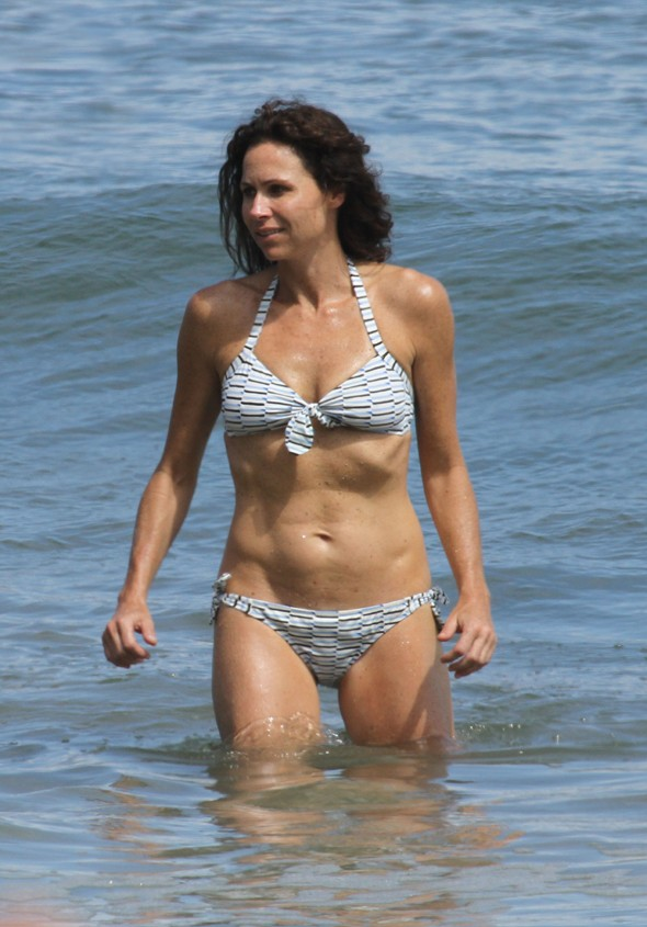 Minnie Driver makes a splash on holiday in Malibu