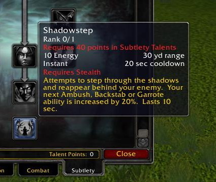 Shadowstep talent text