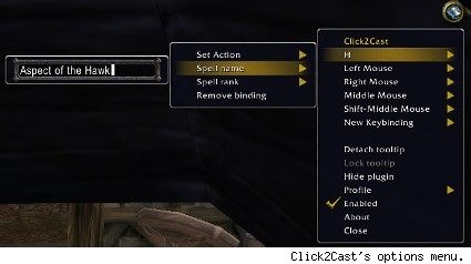 Click2Cast's options menu.