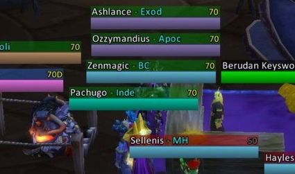 Health Bars Wow or Names And Health Bars
