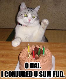 [Mages cannot summon either cats or cakes. It would be cool if we could, though.]