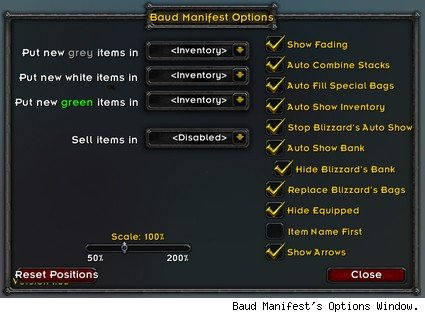 Baud Manifest's Options Window.