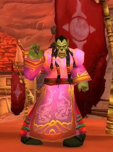 A male Orc in a pink festival dress
