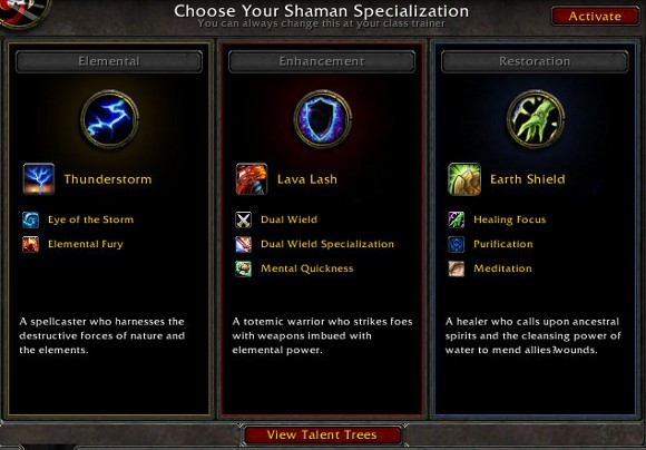 shaman talents in cataclysm beta