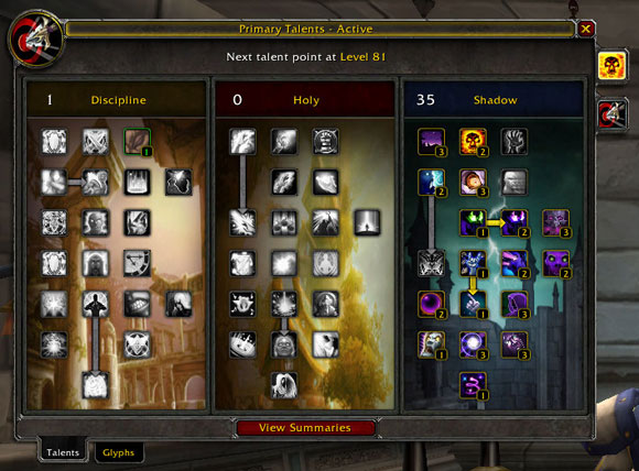 Example image of a WoW talent tree