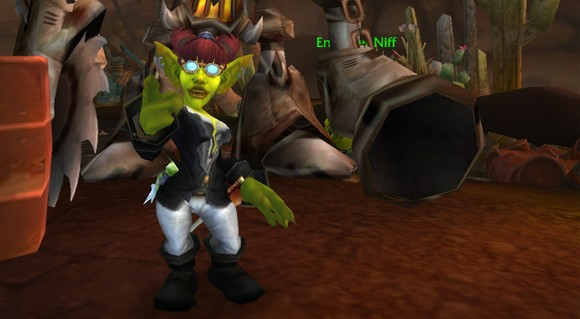 Female Goblin extending pointer finger