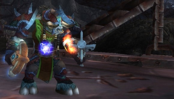 An enhancement shaman in very early Cataclysm gear