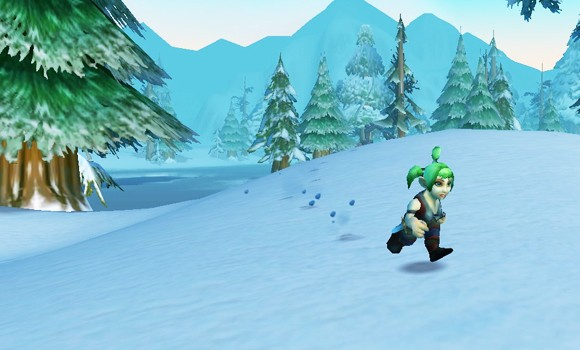 Gnome running through snow